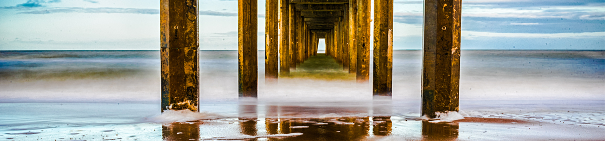 A view from under the jetty at Brighton Beach, Adelaide, South Australia.