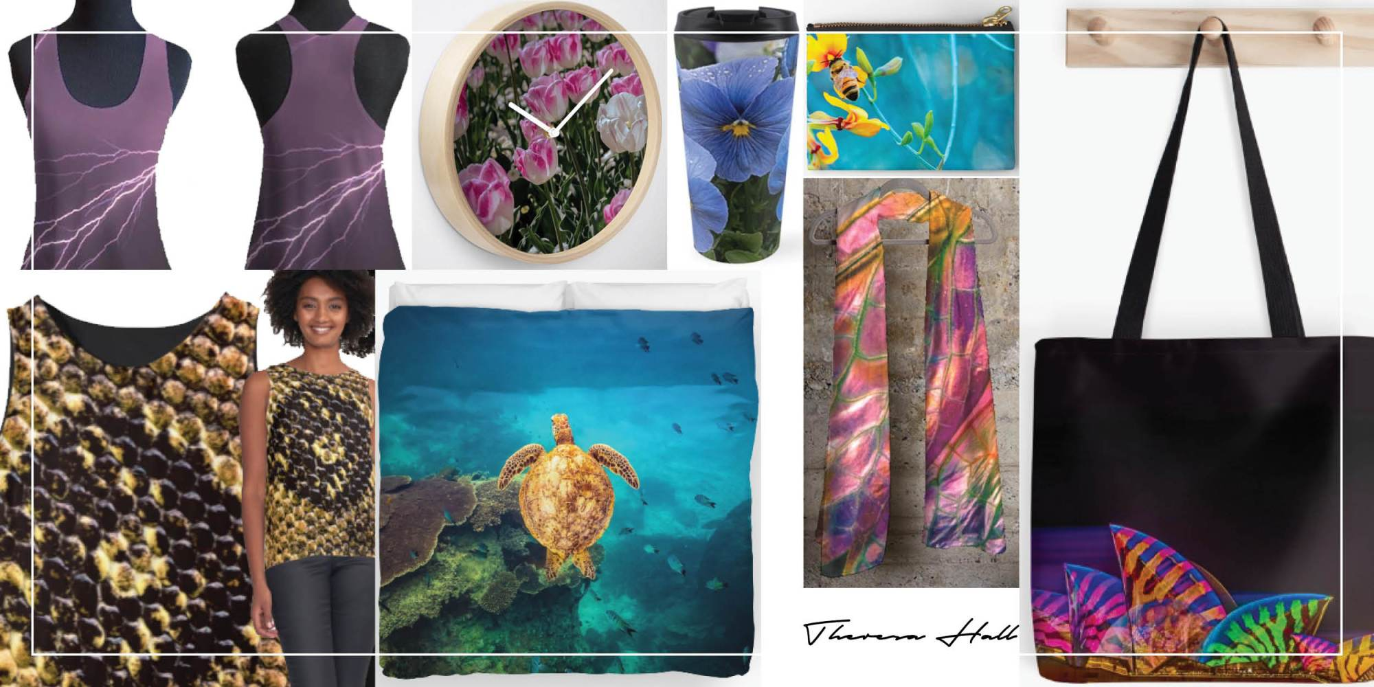 Various images for Teniche designs: tops, doona covers, clock, travel mug, wallet, scarf, bag.